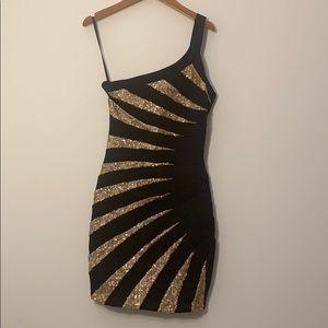 Bebe small one shoulder little black dress